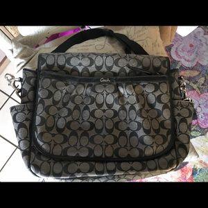 Coach classic black design laptop bag